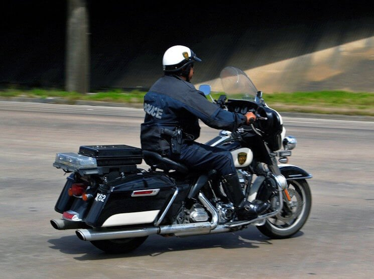 Greensboro Motorcycle Police waiting for Speeding Ticket